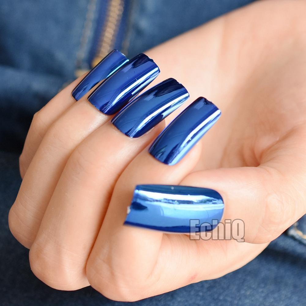 20pcs/kit Mirror Acrylic Fake Nails Deep Blue Metallic False Nail Extra Long Nail Art Tips Easy DIY Design Decoration N07