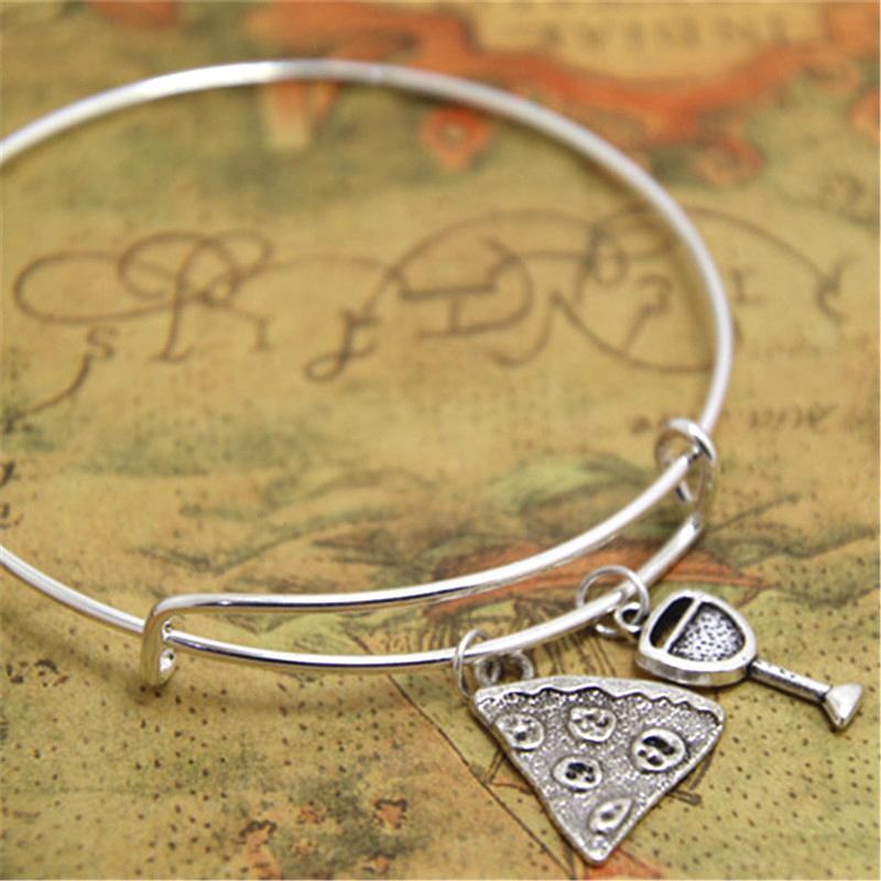 bd00e82d0dec8 12pcs/lot Pizza Wine bracelet Pizza Charm bangles adjustable Fast Food Wine  Charms bracelet