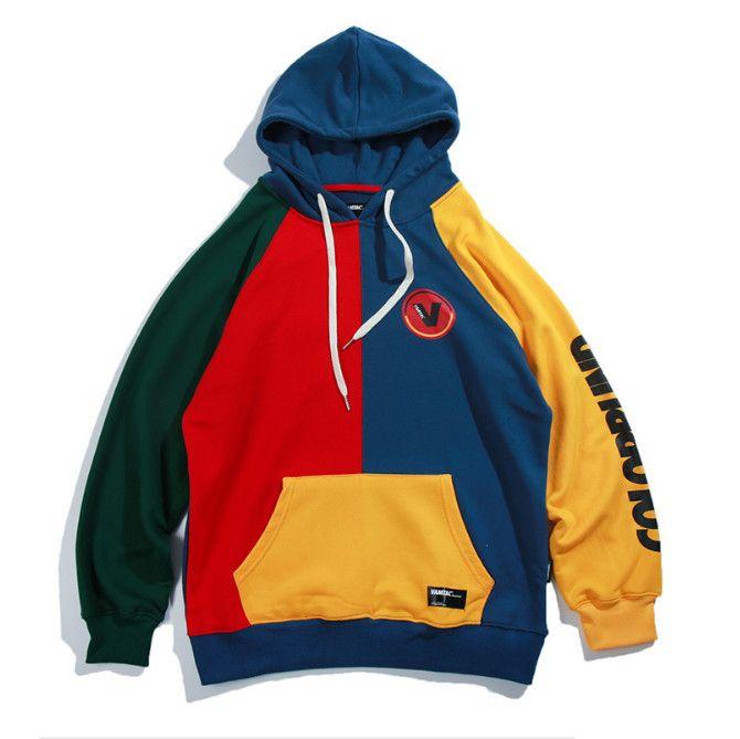 Compre 2018 Otoño Sudaderas Con Capucha Masculina Del Bloque Del Color De  La Vendimia Harajuku Streetwear Amarillo   Púrpura Hip Hop Deportes Béisbol  Moda ... b95b5e87095