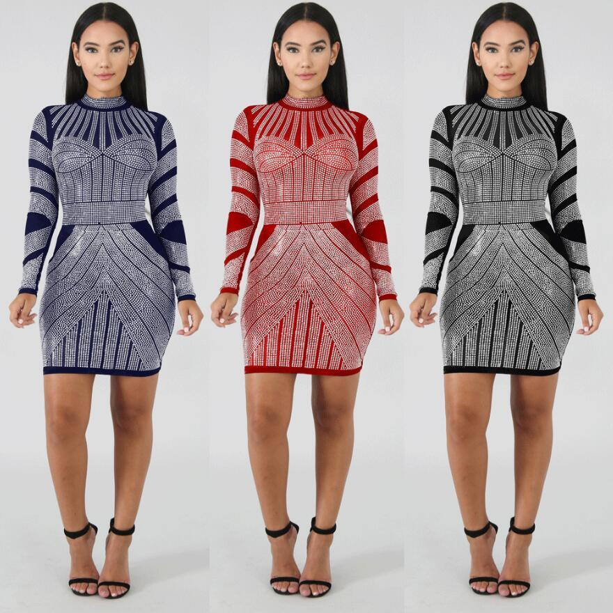 63ede4456d Compre Streetwear Outono Inverno 2019 Mulheres Casuais Vestidos De Manga  Longa Moda Impresso Vestido Curto Alta Trecho Magro Vestido Sexy Vestidos  De ...