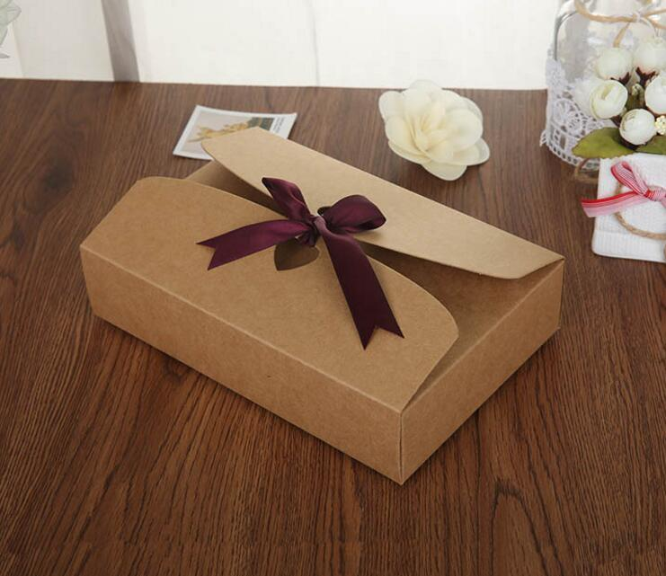10PCS Brown Carton Kraft Shirt Paper Box Kraft Cloth Gift Packing Boxes  Silk scarf Gift Boxes with ribbon large box