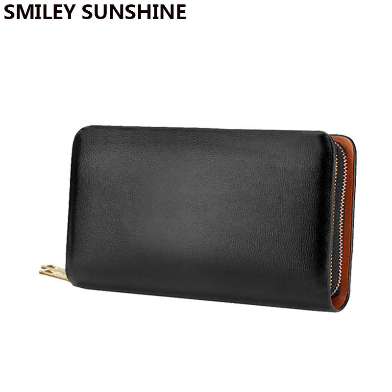 83f927b920fd Double Zipper Business Leather Men Wallets Luxury Big Coin Purse Holders Male  Wallet Long Men Clutch Hand Bag Carteira Masculina Roots Wallets French  Wallet ...