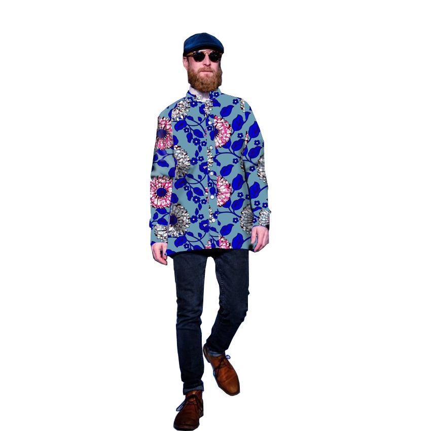 Fashion African Style Men Shirts African Men Clothing Dashiki Casual Clothes  Batik Printing Fabric Long Sleeve Tops Shirts UK 2019 From Chencloth66 b83db604a6