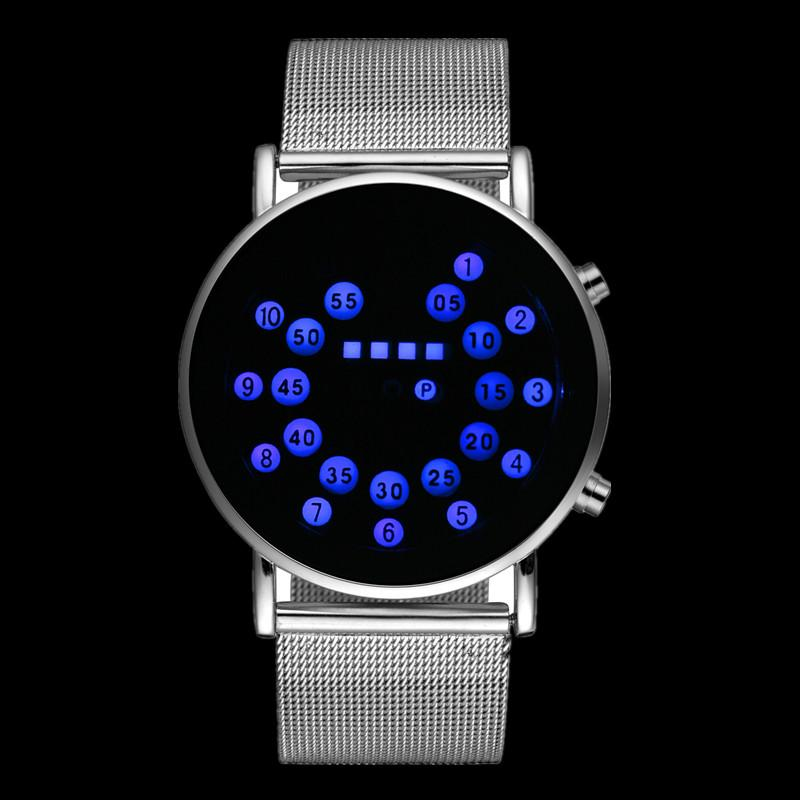 Men's Watches Watches Mens Watches Fashion Blue Light Led Binary Watch Men Sports Digital Electronic Watches Stainless Steel Mesh Band Watch Be Friendly In Use