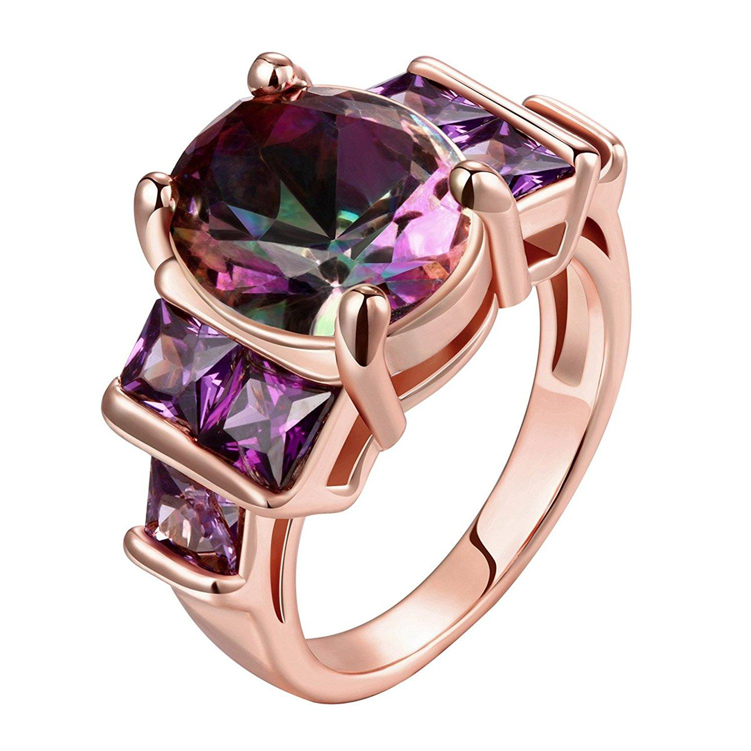 2018 Natural Purple Crystal Solid 925 Sterling Silver Ring For Women