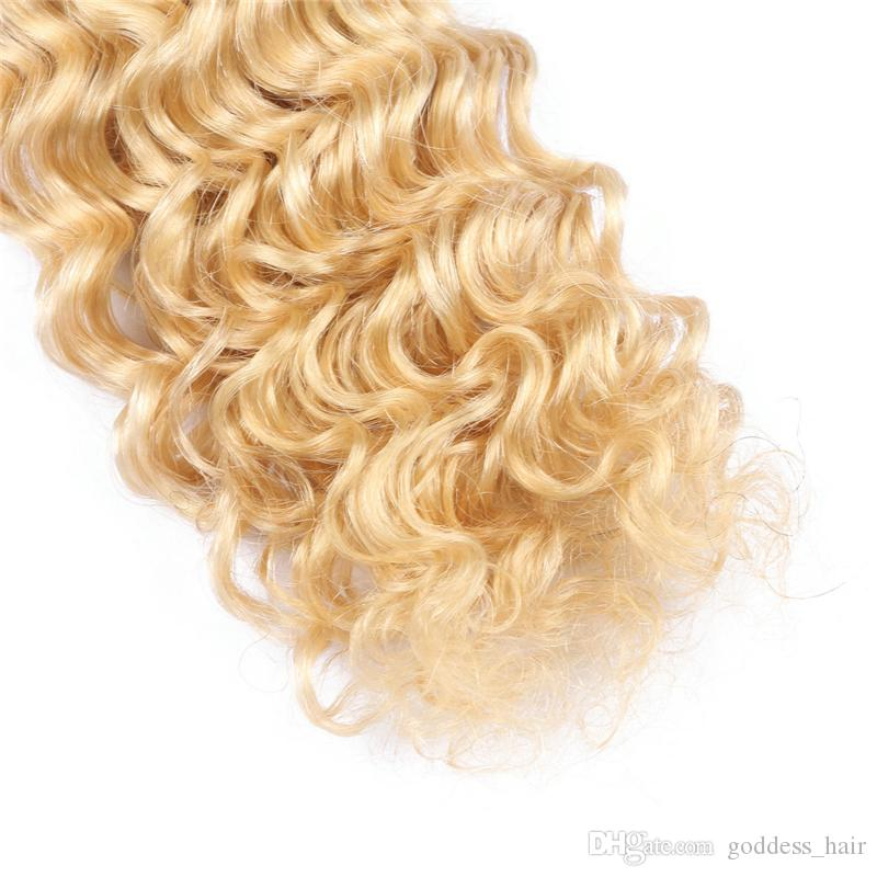 9A Rus İnsan Saç Derin Dalga Renk # 613 3 Demetleri Platin Sarışın Derin Kıvırcık Saç Demetleri Saç Uzantıları 3 Adet