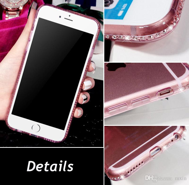 Luxe Bling Diamant Cadre Transparent Souple TPU Gel Case pour Samsung Galaxy S7 S6 Bord S8 S9 Plus Note 9 Note9 iPhone 8 7 6 6S 5 SE