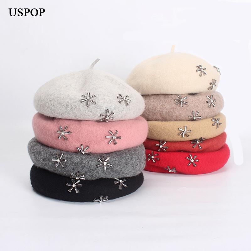 e85d9e0473304 2019 USPOP 2018 Newest Wool Berets Women Winter Thick Warm Hat Female Hand  Stitched Diamond Woolen Beret Hat Lady Painter From Exyingtao