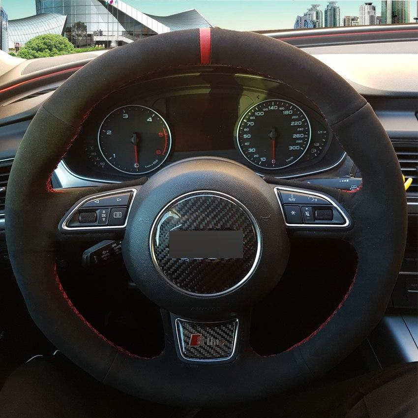 Black Suede Diy Hand Stitched Car Steering Wheel Cover For Audi A1 A3 A5 A7