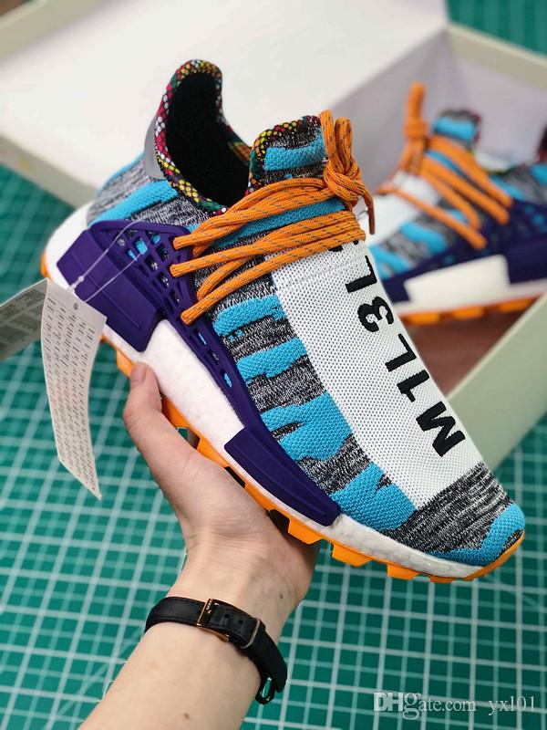 finest selection c2cfa 87fbd 2018 Original BBC x Human Race Pharrell Williams Trail Frank Running Shoes  Fashion Chaussures Mens Women PW HU Sports Sneakers Size 36-46