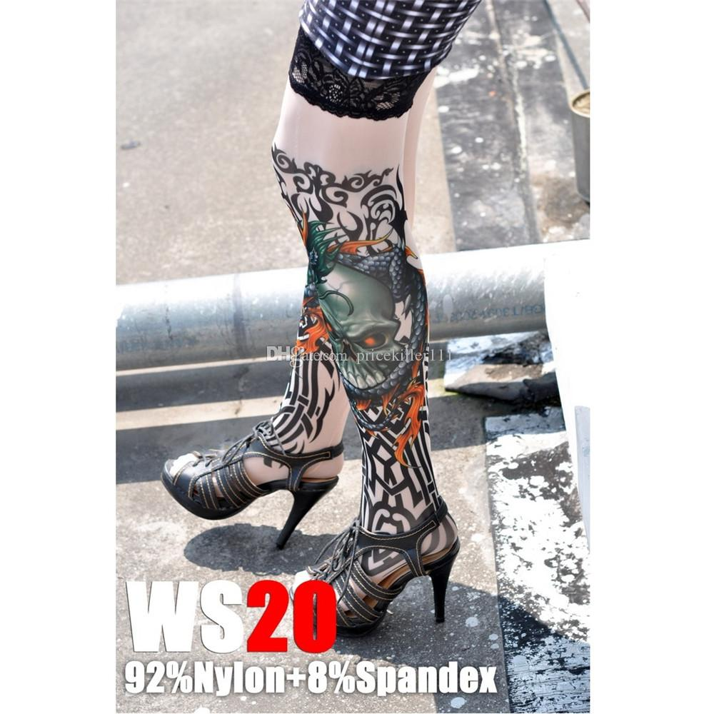 fa002d5957f Hot Sell Sexy girl fake tattoo stockings tattoo socks with lace edge high  elastic cool design printed free shipping