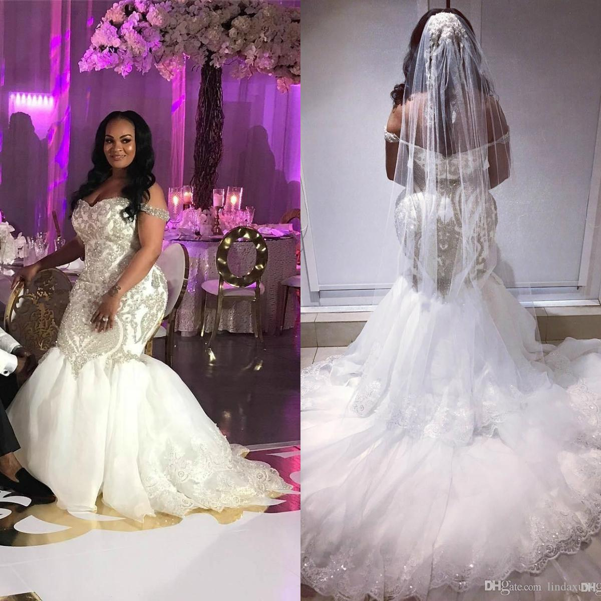 Gorgeous Plus Size Wedding Dresses Beaded Crystal Sequins Mermaid Off The Shoulder Africa Bridal Gown For Church Wedding Custom Made