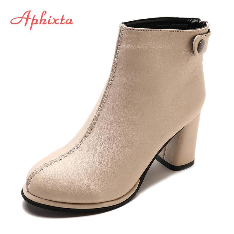 ea673f99e Compre Venta Al Por Mayor Botas De Tobillo Para Mujeres Botines De Cuero  Suave Mujeres Zapatos De Invierno Mujeres Botines De Tacón Alto Cuadrado  Zapatos ...