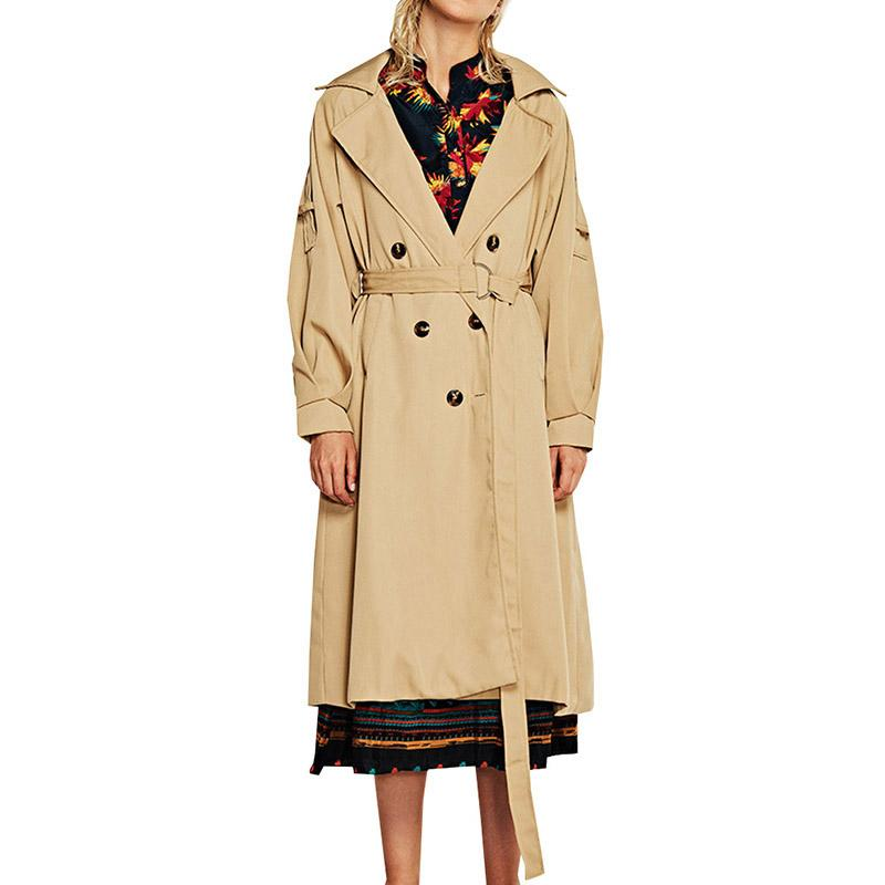 cc7d046d166 2019 New Fashion Style Autumn Winter Trench Coat For Women Adjustable Waist  Slim Solid Black Coat White Long Trench Female Outerwear From Bairi