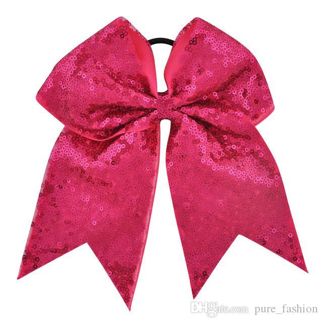 10 ADET / GRUP 27 Renkler 7 Inç Yüksek Kaliteli Kız Sequins Şerit Cheer Yaylar Çocuk Tatlı Elastik Saç Bantları DIY Büyük Saç Aksesuarları