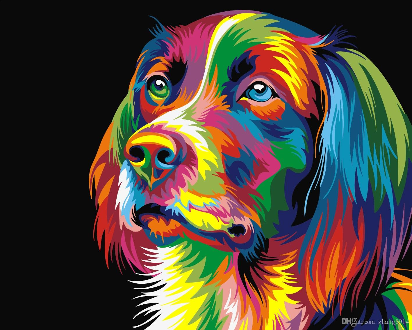 Satın Al 16x20 Inç Diy Vintage Gökkuşağı Renk Yavru Köpek Boya By