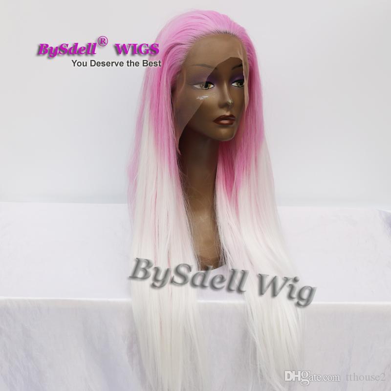 Sıcak satış isıya dayanıklı sentetik uzun Pastel ombre mor pembe beyaz renk saç Kadın Peruk kadın tam güzellik dantel ön peruk