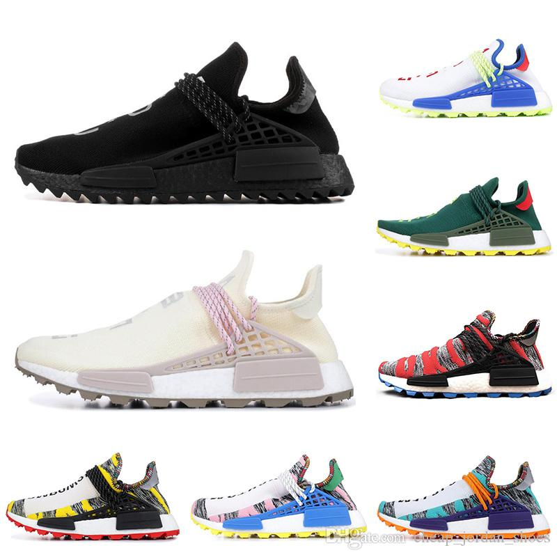 d8d3697de Compre Adidas Nmd Human Race Hu Trilha Pharrell Williams Homens Tênis NERD PRETO  Branco Verde SOLAR PACK Designer Mens Formadores Mulheres Sports Sneakers  ...