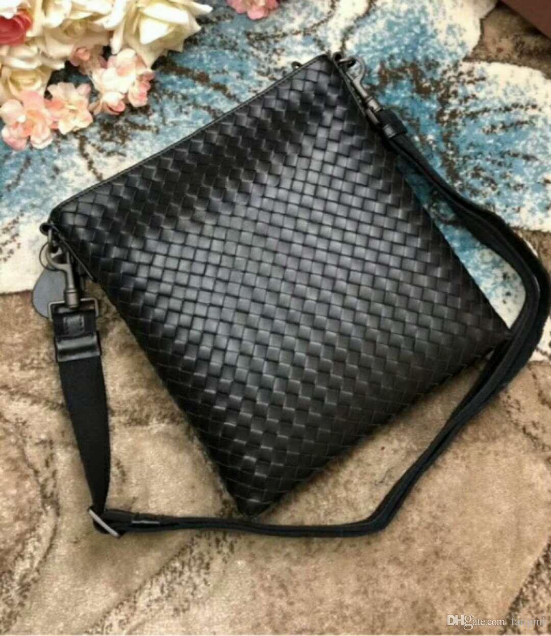 2018 husband gift! men handmade material handbag classic business men office genuine cow leather bag braid casual kintting cross body 26cm