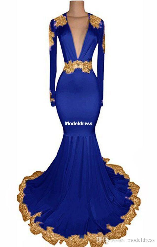Sexy espalda abierta sirena vestidos de baile 2019 mangas largas cuello en V profundo tren de tren modesto Royal Blue Pink partido árabe vestidos de noche personalizados
