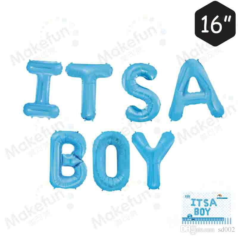 Aluminum Film Balloon Letter of It Is boys girls in the children Baby Birthday Party Wedding Celebration Ball Decor Supplies 6 5mk YY