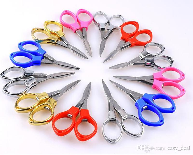 New Stainless Steel Folding Scissors Fishing Scissor Keychain Camping Mini Cutter Random Color fast shipping F20172878