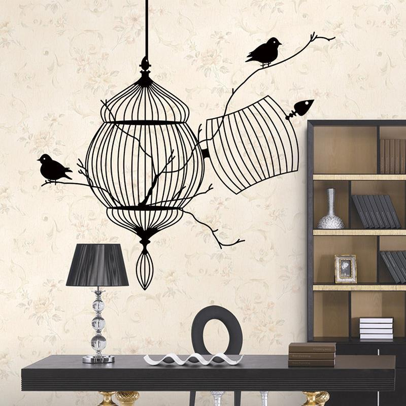 3D Birds Cage Tree Branch Creative PVC Decorative Wall Sticker Removable Waterproof Decals Living Room Study Home Decor Nursery