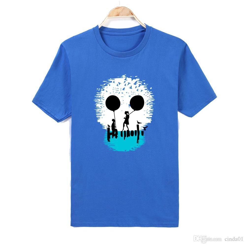 Sıcak Satış Lover Giysileri Yaz Üst Mens 3D Baskı T Shirt Kısa Kollu Komik Kafatası Baskılı Erkekler Kısa T gömlek