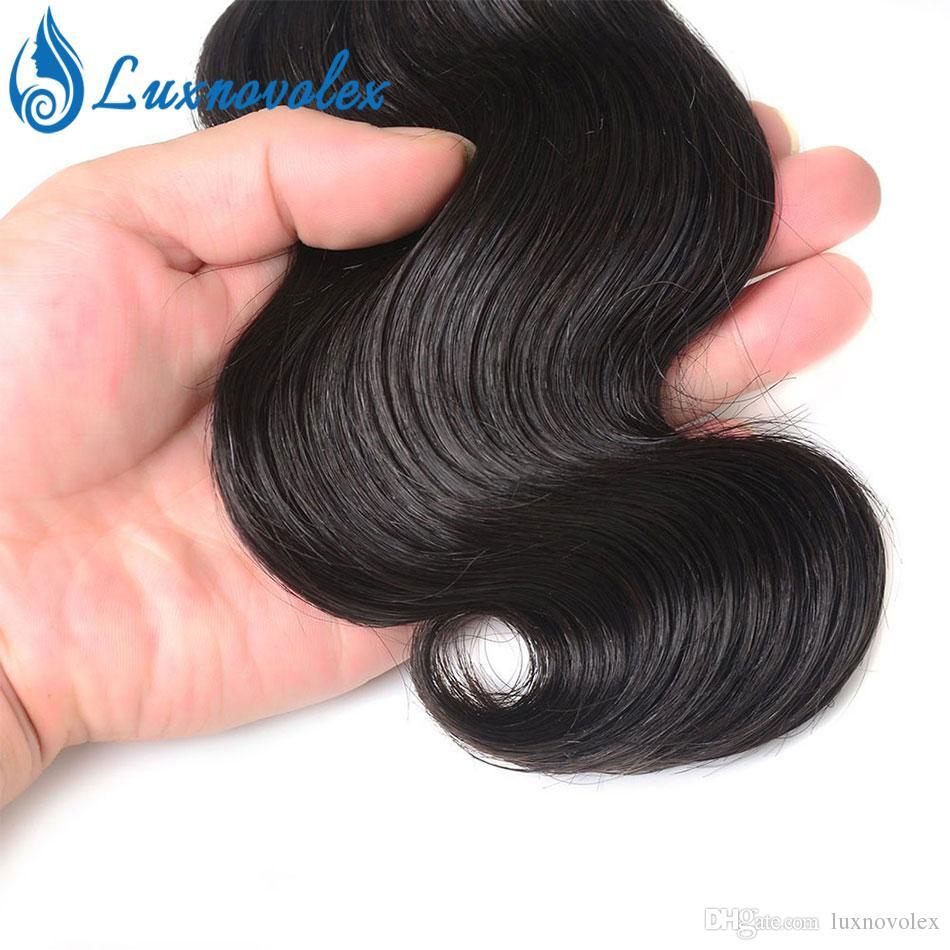 폐쇄 짧은 머리 확장 자연 색상과 레이스 폐쇄 100 % 인간의 머리 짜 번들과 말레이시아 헤어 바디 웨이브 4 번들