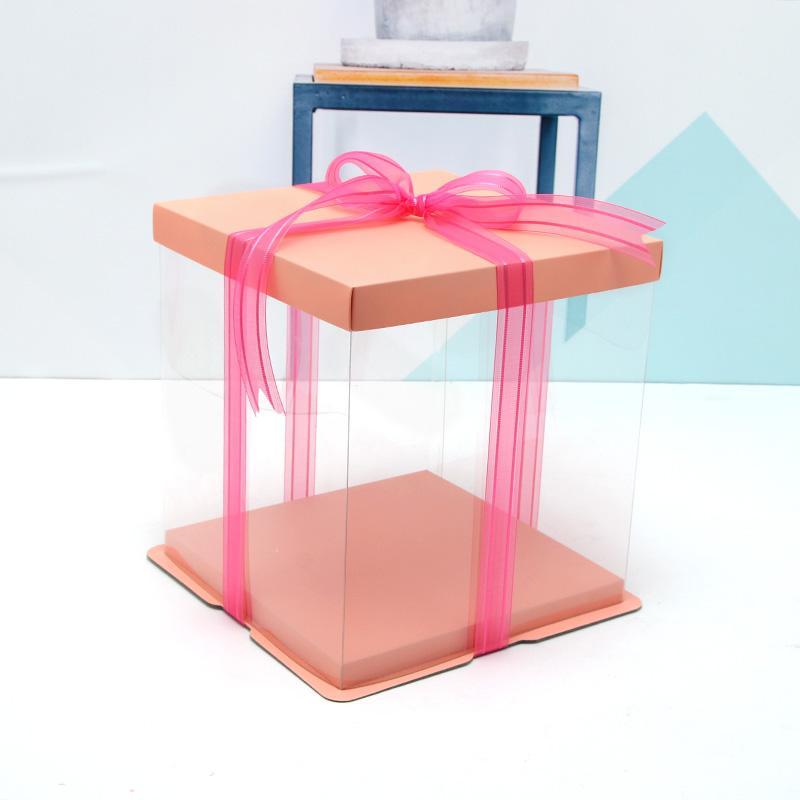 5pcs anniversaire cadeau gâteau gaine cadeau sacs de haute qualité Cake Box Simple Transparent Gift Box 4-12 pouces grande taille gâteau boîte livraison gratuite