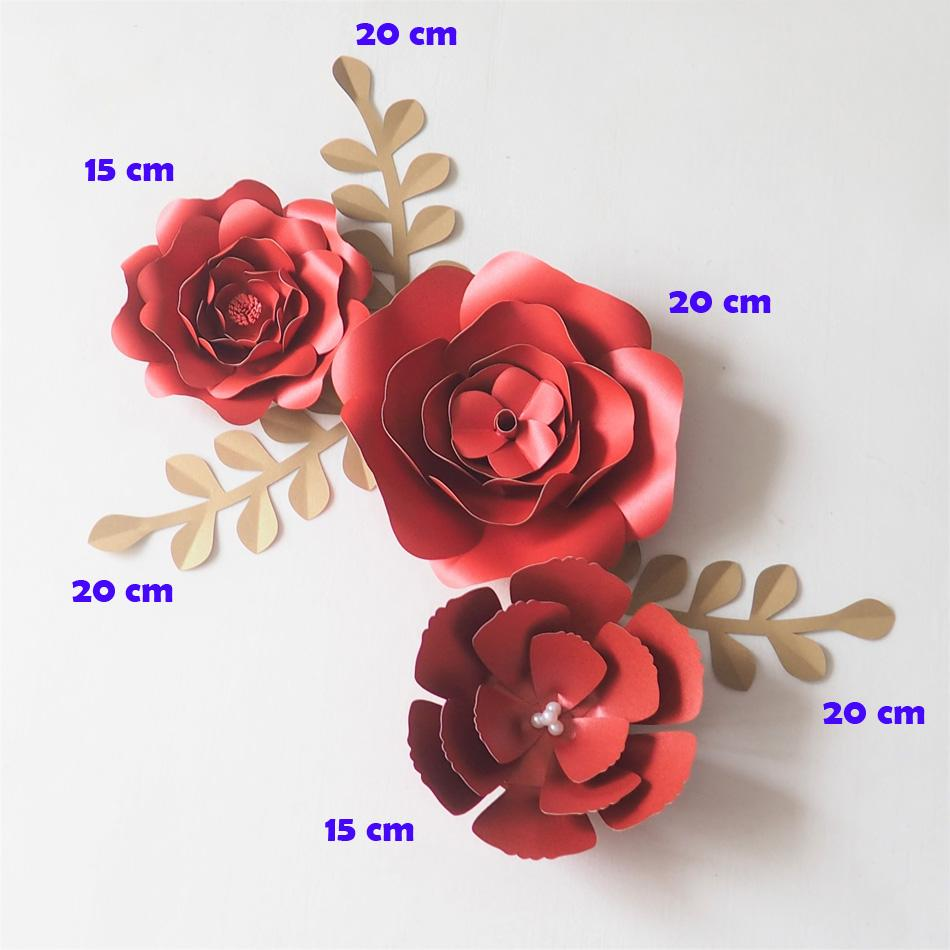 2018 Diy Red Giant Paper Flowers Backdrop Artificial Handmade Mix