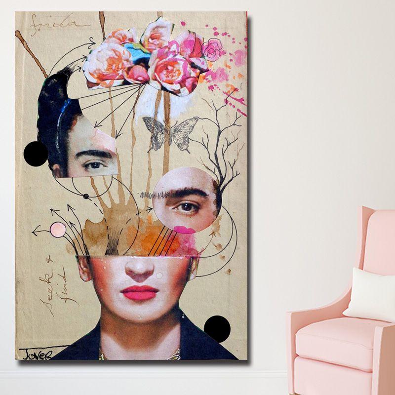 2018 1 Panel Artist Frida Kahlo Abstract Canvas Paintings Wall Art ...