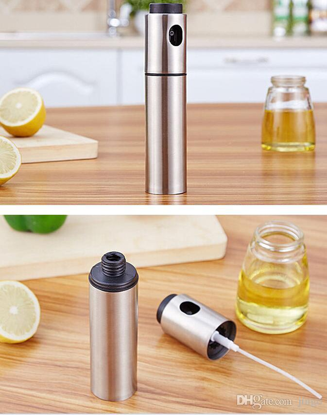 DHL Stainless Steel Olive Oil Sprayer Pump Spraying Oil Bottle Sprayer Can Jar Pot Tool Silver Can Pot Oil Sprayer