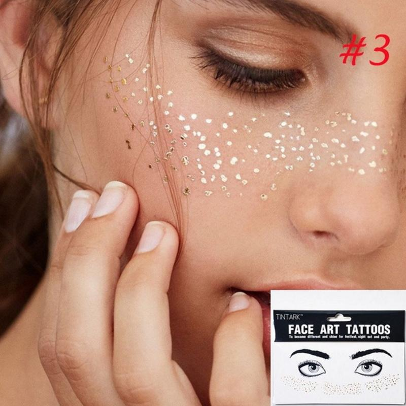 d8c3c9804d399 1pack Gold Face Tattoo Flash Tattoo Fashion Waterproof Blocked Freckles  Make Up Body Art Stickers Eye Decals Bride Tribe Party Semi Temporary  Tattoos ...