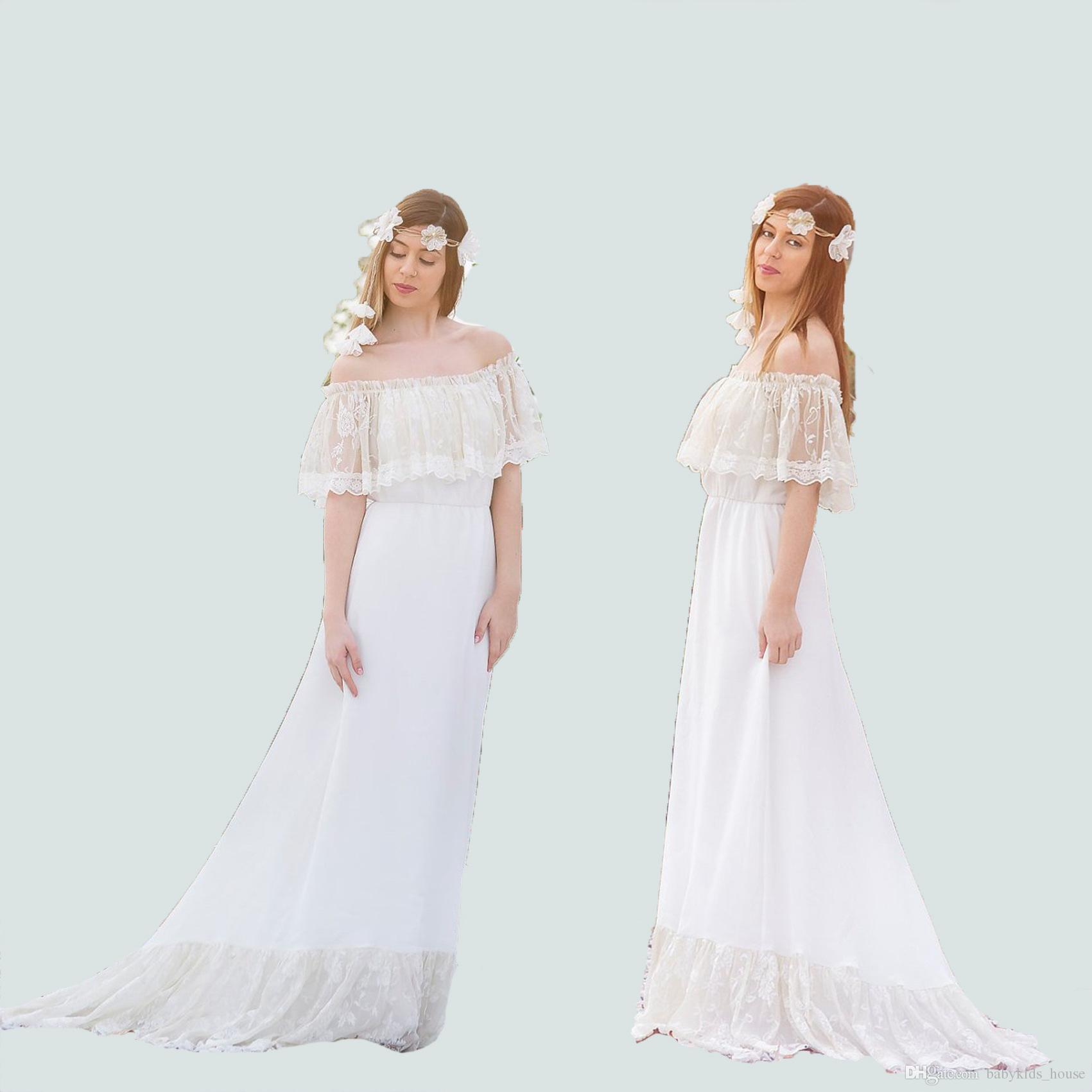 420be3f76bf50 2019 Fancy Maternity Gown Pregnant Dress Fashion White Maternity  Photography Props Maxi Long Lace Dress Photo Session Dresses From  Babykids_house, ...