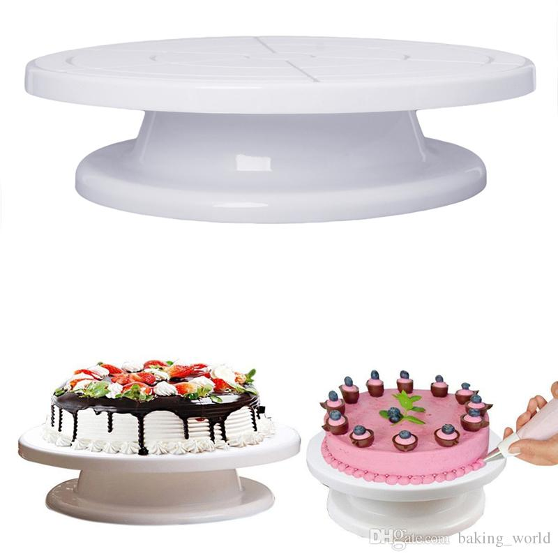 28cm white cake turntable kitchen cake decorating icing rotating turntable cake stand plastic fondant baking tool cf23 silicone bakeware safety silicone - Turntable Kitchen