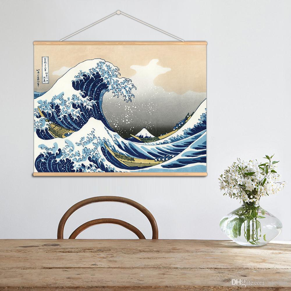 Mondern Style Fugaku Sanjurokkei Wall Art Paintings Japanese Style Ukiyoe Canvas Print With Wooden Hanger For Home Bathroom Decoration