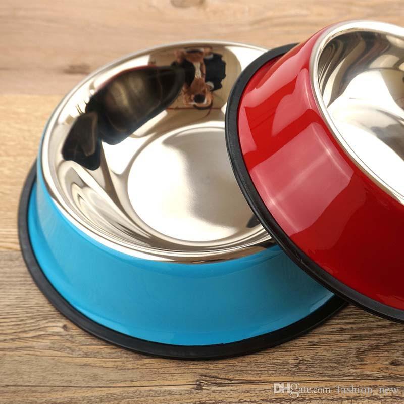 Ciotola di cane in acciaio inox all'ingrosso Pet Puppy Cat Cani Food Drink Water Dish Feeder cucciolo di gatto i