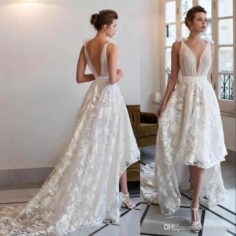 af891e6c9a462 Sexy Boho Wedding Dresses Lace Applique Deep V Neck Backless High Low  Custom Made Beach Bridal Gowns Plus Size