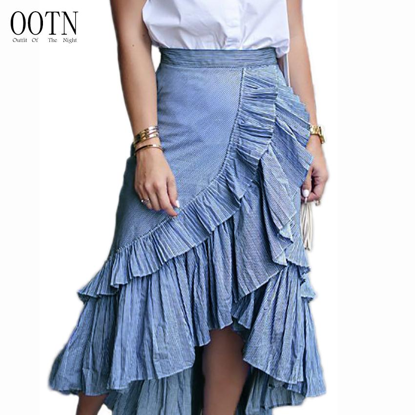 48395a4ecf Compre OOTN Falda Midi Vintage Falda Larga Otoño 2018 Mujeres Cintura Alta  Asimétrico Con Volantes Irregular Azul Blanco Rayado Falda Plisada S916 A   22.16 ...