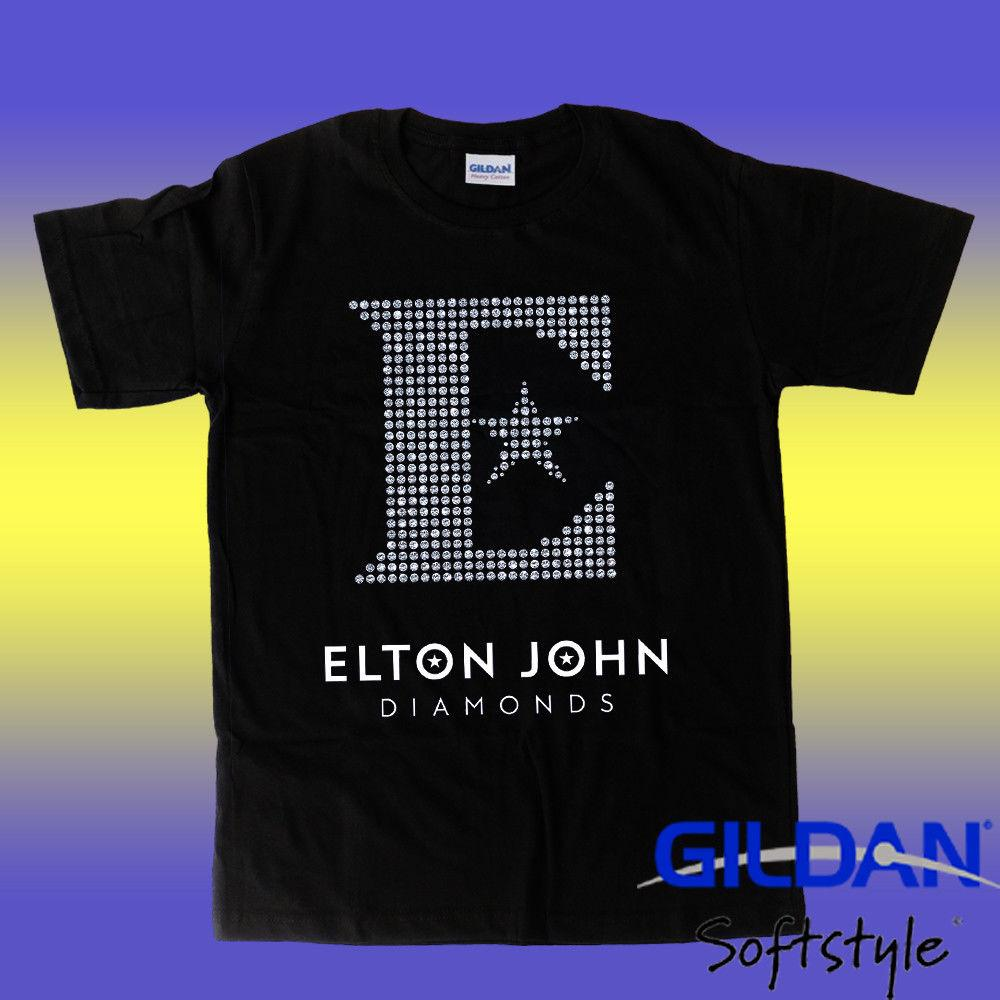 New elton john Logo diamond T shirt size M-2XL Personalized T Shirt Custom T Shirt Cheap Price 100 % Cotton Tee Shirts Middle Aged