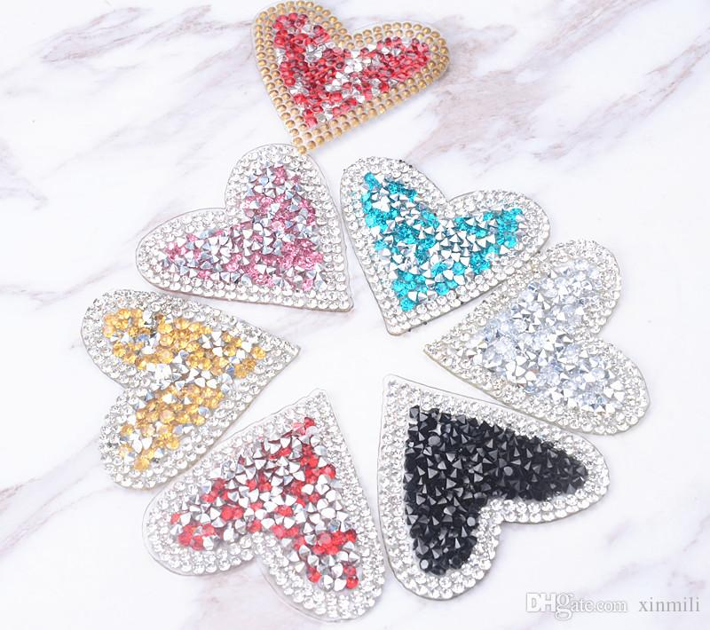 Heart 5cm design Hotfix rhinestones Motifs Iron on Patches heat transfer Motif crystal strass Applique for clothing craft