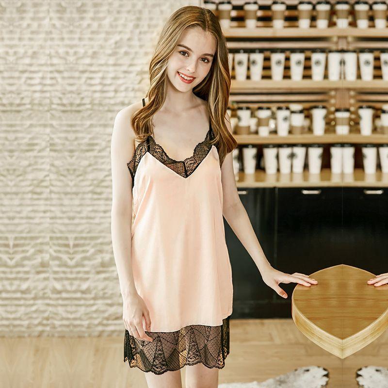 d52cf655ff 2019 Luxury Summer Lace Trim Pajamas Silk Sleep Dress Sexy V Neck Slip  Dress Sleeveless Lady Satin Nightgown Homewear Pijama Feminino From ...