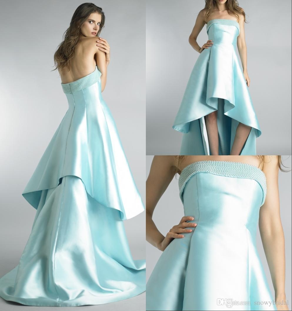 Mint High Low Formal Evening Dresses 2018 Strapless Pearls Simple ...