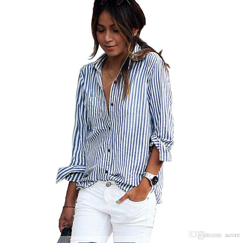 24129a04c47aa3 2019 Blusas Mujer De Moda 2018 Work Blouse Plus Size Long Sleeve Top Women  Blouse For Women Classic Striped Shirt Camisas Mujer S 5XL From Acore, ...