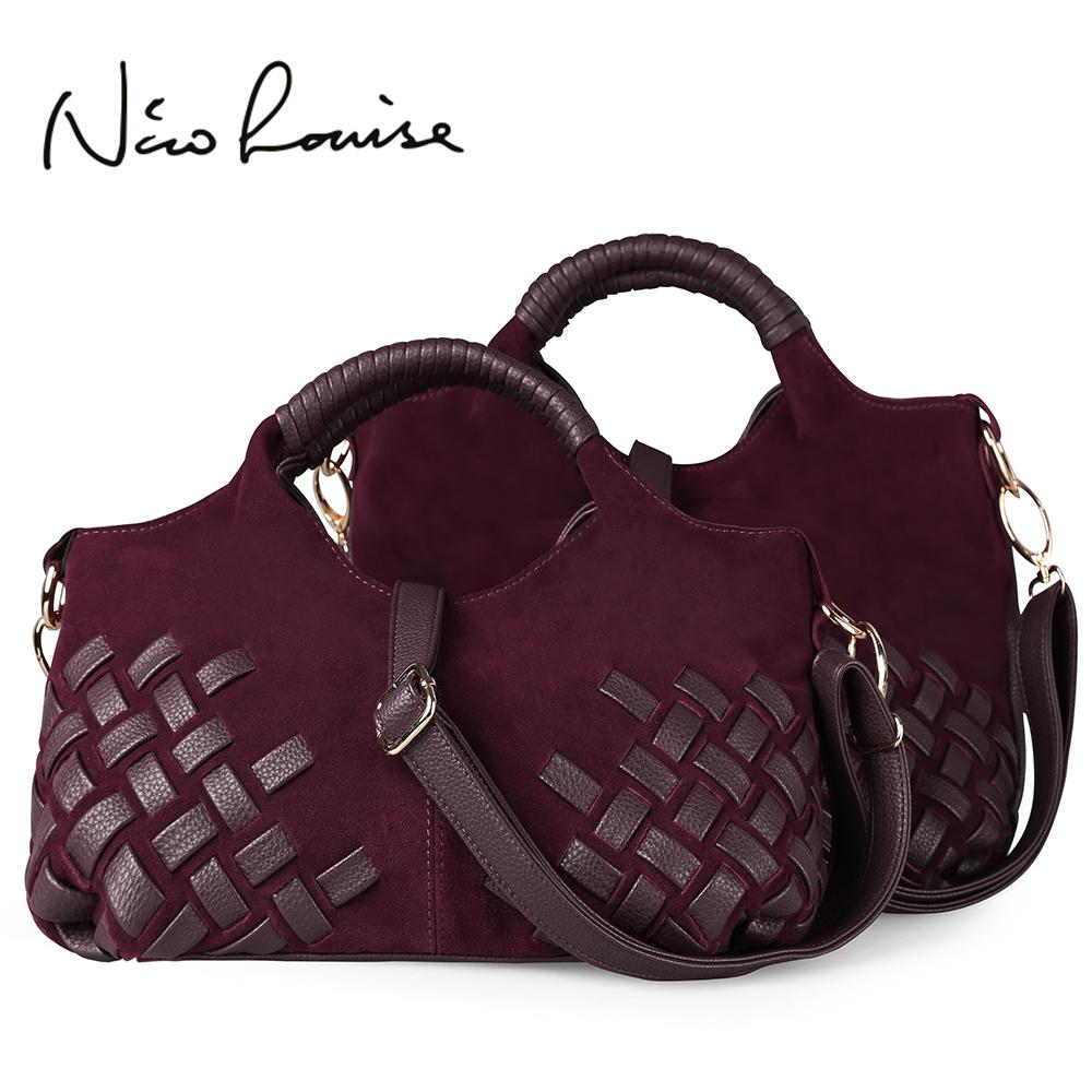 Latest Women Weave Suede Split Leather Handbag Female Leisure Casual Lady  Crossbody Shoulder Bag Messenger Top Handle Bags SacY1883107 Travel Bags  For Men ... 57905d5ca55c0