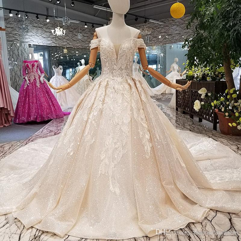 Discount Luxury Shiny Wedding Gown With Glitter Sweetheart Off The Shoulder  Lace Up V Back Wedding Dresses From Real Factory High Quality A Line Wedding  ... 7a9d62ddb72b