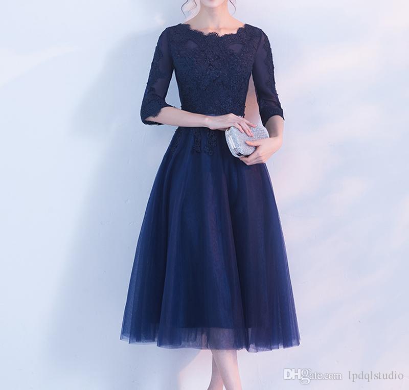 Elegant Dark Navy Mother of the Bride Dress Zipper Back Three Quarter Sleeves Soft Tulle Tea Length Mother of the bride dresses