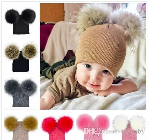 687fe20e431 2019 Children Caps 2019 Kid Pom Pom Winter Knit Beanie Photography Faux Fur  Hat Knit Cap Baby Adjustable Woolen Hats From Ywbaby