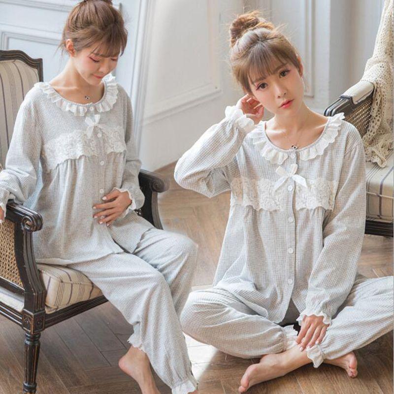b36d3c3f7f 2019 Cotton Lace Maternity Pajamas Pregnancy Sleepwear Nursing Nightgown  Pregnant Pyjama Maternity Feeding Suit A162 From Cover3129